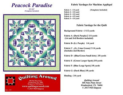 Brewer Sewing - Peacock Paradise with Templates : brewer sewing and quilting - Adamdwight.com