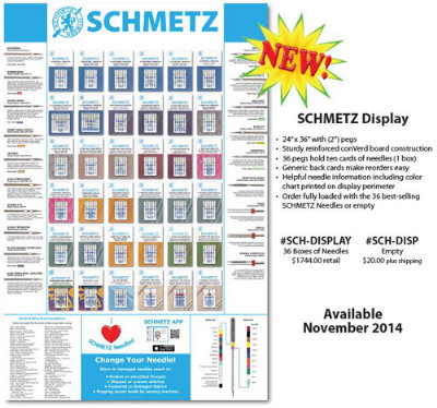 Brewer Sewing Display Schmetz Carded With 36 Boxes Of Needles